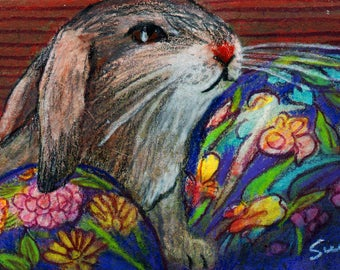 original art  aceo drawing Easter bunny rabbit Ukrainian egg colorful