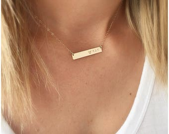 Personalized Bar Necklace, Custom Bar Necklace, Mother's Day Gifts, Personalized Name Plate Necklace, Gold Name Necklace, Name Necklace Gold