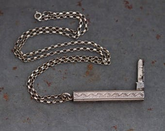 Art Deco Penknife Necklace - Sterling Silver antique Pocket Knife Pendant on Rolo Chain