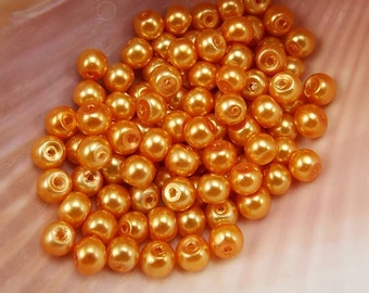 4mm Glass Pearls - Light Burnt Orange - 100 pieces - Dusty Coral - Pumpkin - Harvest