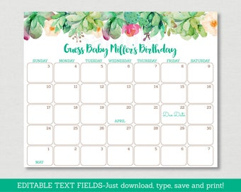 Succulent Baby Due Date Calendar / Succulent Baby Shower / Watercolor Floral / Birthday Predictions / INSTANT DOWNLOAD Editable PDF A181