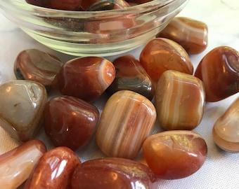 "1 Red Sardonyx Tumbled Stone 1""-5"" Natural Healing Crystal Collector Piece Crystal Healing Sacral Chakra Stone"