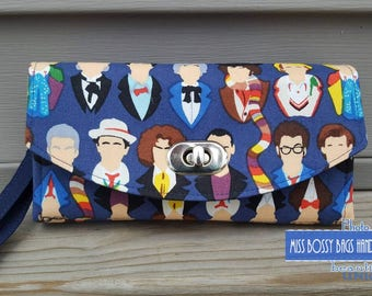 Ready to Ship: Doctor Who Inspired Necessary Clutch Wallet, NCW, Geek Clutch Wallet, Fandom Wallet Clutch, Fandom Purse, Cosplay Clutch