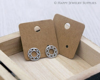 30X30MM Kraft Paper Square Earring Display Tags/ Earring Display Cards / Earring Holder, Jewellery Supplies, Packaging (TAG17)