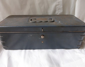 Vintage Climax Blue Metal Push Button Box.  Blue hammered finish metal tool box, organizer box, decorative box.