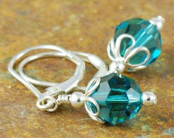Teal Dangle Earrings | Simple Sterling Silver Earrings | Blue Green Jewelry