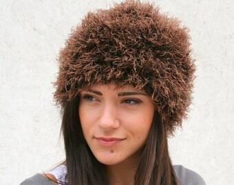 Knit Fur Hat \\ Knitted Winter hat \\ Faux fur hat \\ Women's Hat  \\ EllenaKnits