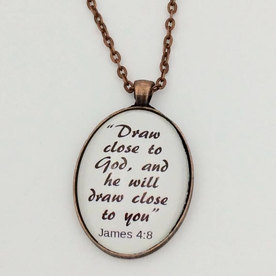 """JW """"Draw close to God...."""" , Handmade Copper or Silver tone Pendant,  Blue velvet gift pouch."""