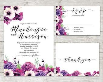 Purple Hydrangea Flower Wedding Invitation, Floral wedding Invite, Watercolor Flower Wedding Invitation, Printable wedding invitation suite