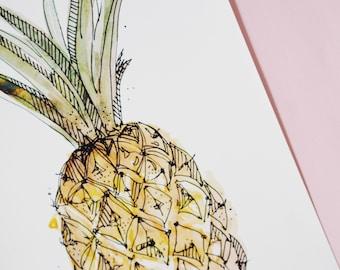 A4 Wall Art illustration print on acid free paper - Wallpaper, Pineapple, Watercolor, sketch book Moleskin Art, Fruit Illustration