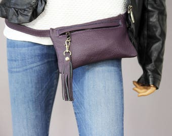 Leather Fanny Pack Purple, Fanny Pack Leather, Hip Bag, Leather waist bag, Leather Pouch, Belt bag, Fanny Pack, Leather Woman Bag-6