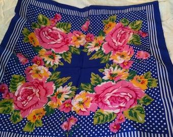 Glentex Royal Blue Floral   Square Scarf