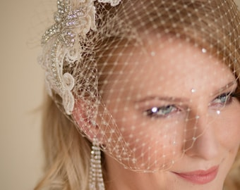 Champagne Birdcage Veil with Lace and Rhinestone Fascinator Made to Order Champagne Ivory or White