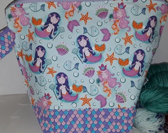 Medium or Large Project WIP Tote Bag, Mermaids Under the Sea, Ocean Princess, Scales, Sea Shells, Star Fish  Inspired, Zipper or Drawstring