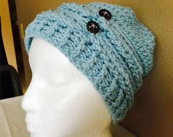 Braided Slouchy Beanie with Steampunk Buttons