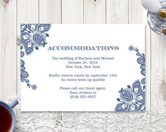 """Wedding Accommodations Card """"Vintage Lace"""", Navy Blue. Printable Enclosure Card Template, MS Word - Editable Text. Instant Download."""