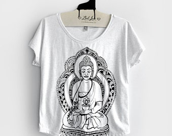 Small-  Tri-Blend Heather White Dolman Top with Buddha Screen Print