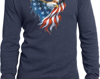 USA Eagle Flag Mens Long Sleeve Thermal Tee T-Shirt WS-12260-DT118