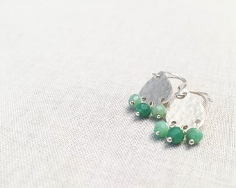 Chrysoprase Fringe Sterling Silver Drops - Hammered Silver Teardrop Earrings with Green Chalcedony Faceted Gemstone Wire Wrapped Boho Spring