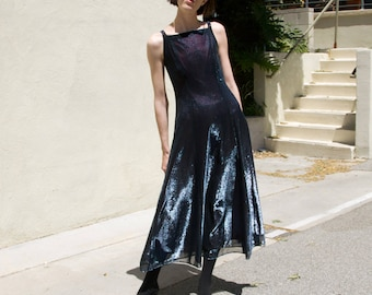 Vintage 90s Shimmer Blue Berry Liquid Maxi Dress / Gown / S