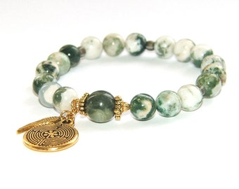 Labyrinth Bracelet, Tree Agate Beads - Mindfulness Jewelry