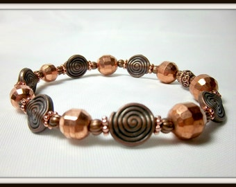 Copper Bracelet,  Stackable, Beaded, Glowing, Warm, Antique Look, Copper Swirls, Bright Copper