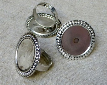 free shipping in UK - 10 pcs Antique Silver Ring Component Setting Base