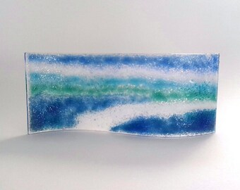 Fused Glass Abstract Seascape Wave