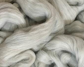 Alpaca Fiber Roving Top Light Grey Superfine, 100 Grams, Spinning, Hearts Desire Fiber