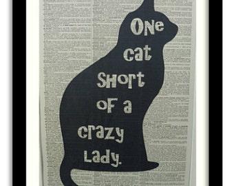 Cat Print No.20, black cat, cat poster, cat wall decor, funny cat quote, crazy cat lady, cat art print, cat wall art, cat art, cat picture