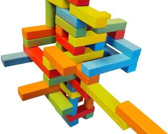 Magnetic Wooden Bricks 45 piece set Handmade from Beech Hardwood