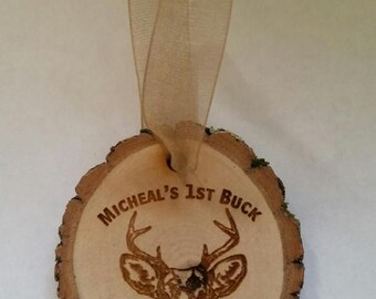 Personalized wood Buck Deer Christmas ornament with name and date cabin country lodge hunting
