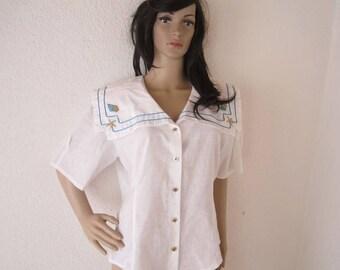 Vintage 80s sailor blouse Zogbaum Blouse oversize 40/meter