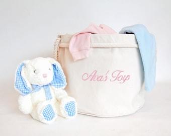 Personalised CHILDREN'S Toy Basket NURSERY, Kid's Toys Storage Bag, Toy Bin, Children's Bedroom Organiser, Bedroom Storage