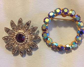 Two rhinestone brooches unsigned M3