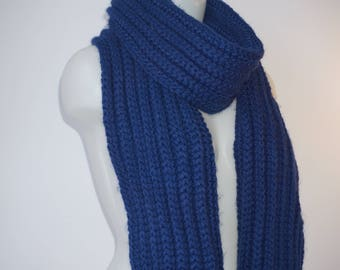 Knit scarf, long knit scarf, knit shawl, womens fashion accessory, chunky Knit scarf in blueberry, cozy softness, knit scarves