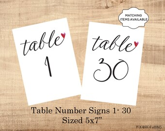 Table Number Signs Printable 5x7 Wedding Table Marker 1-50 Banquet Party Dinner Luncheon Benefit Table Identifier Black White Elegant PCWDWS