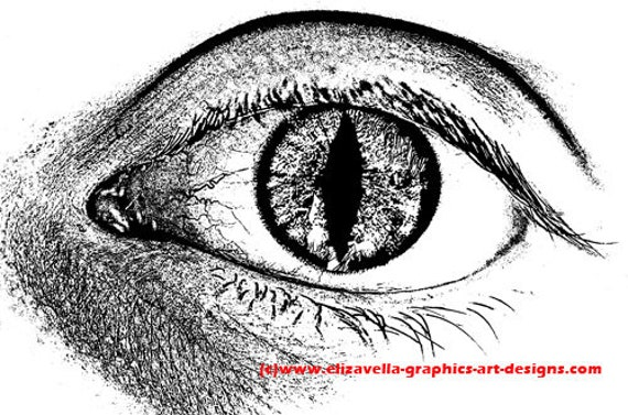 human cat eye creature clipart png Digital Download printable art Image graphics monsters sci fi black and white artwork