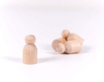 25 Baby Wooden Peg Dolls | Unfinished Peg Dolls | Little Wooden People | Little People | Game Pawns | Baby Little People