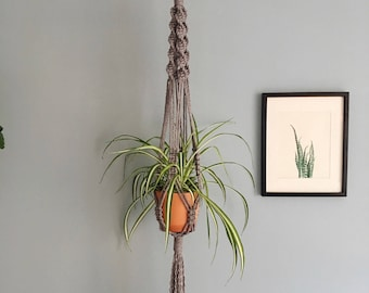 Handmade Chunky Macrame Plant Hanger / Spiral Knots / Available in 3 colours! Natural, Grey, Mustard