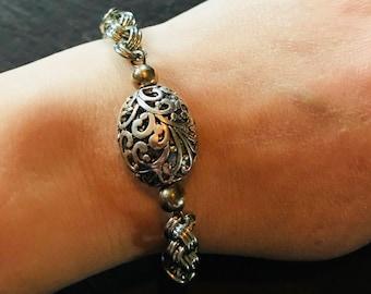 Handmade Chain Link Bracelet with Filigree Bead