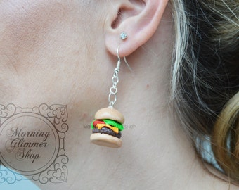 Hamburger Cheeseburger Burger Polymer Clay Earrings