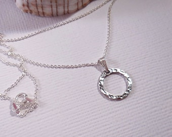 Sterling Ring on Silver Rolo Chain, Gift for Mom, Hammered Circle Necklace, Hammered Sterling Necklace, Minimalist Necklace, Bridesmaid gift