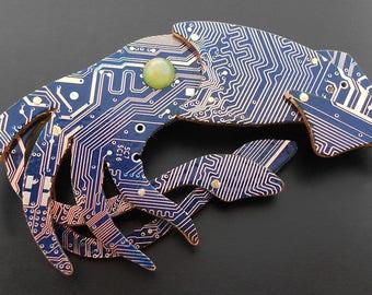 Blue Squid Brooch - circuit board.