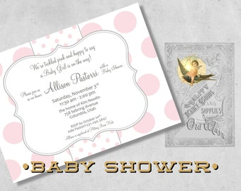 Polka Dot Baby Girl Shower Invitations - Pink, Grey and White - Custom Printed Baby Shower Invitations for a Girl