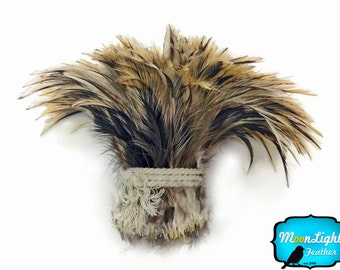 Wholesale Rooster Feathers, 1 Yard - Natural GOLDEN BADGER Strung Wholesale Rooster Hackle Feather (bulk) : 3260