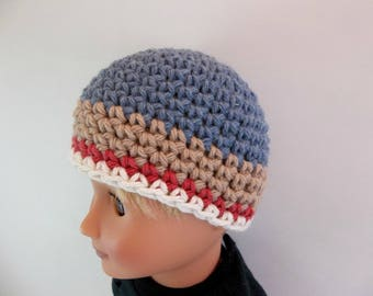 18 inch Boy Doll  Crochet Hat Blue Denim Tan  Red and White Striped Cotton Beanie Accessories Toys