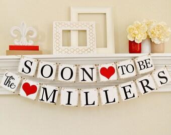 Fête de fiançailles, fiançailles accessoires, bientôt à Mr et Mme, bannière de fiançailles, fiançailles parti B203b idées, décoration de mariage rouge, la