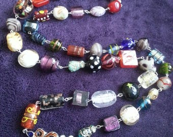 Bohemian, Gypsy, long necklace, Indian Glass, multi colour, mix colour, 1930s style, chunky necklace, feather, by NewellsJewels on etsy