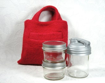 to go snack tote - glass - rectangle - red